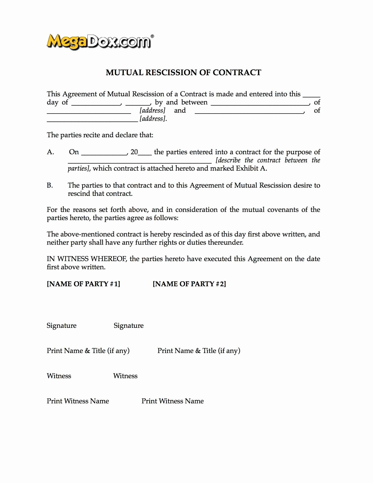 Letter Of Rescission Template Beautiful Mutual Rescission Of Contract form