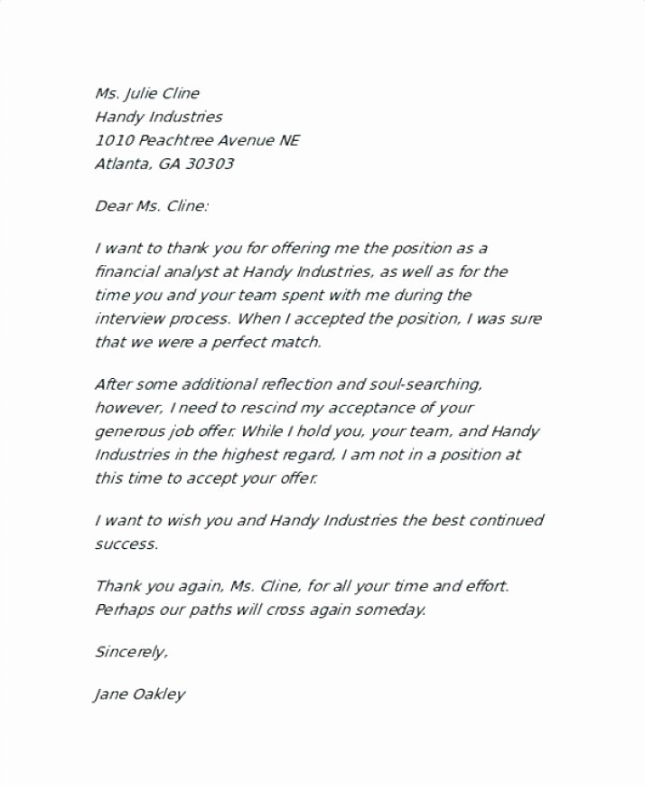 Letter Of Rescission Template Best Of Employer Rescind Job Fer Letter Template