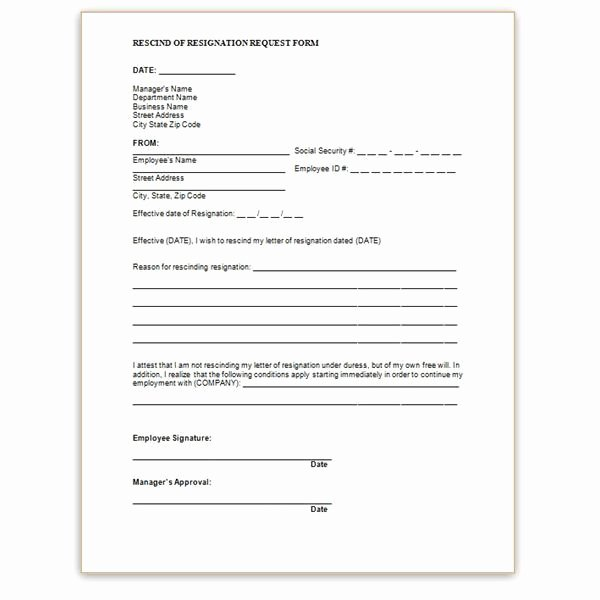 Letter Of Rescission Template Best Of Rescinding A Resignation Letter Template