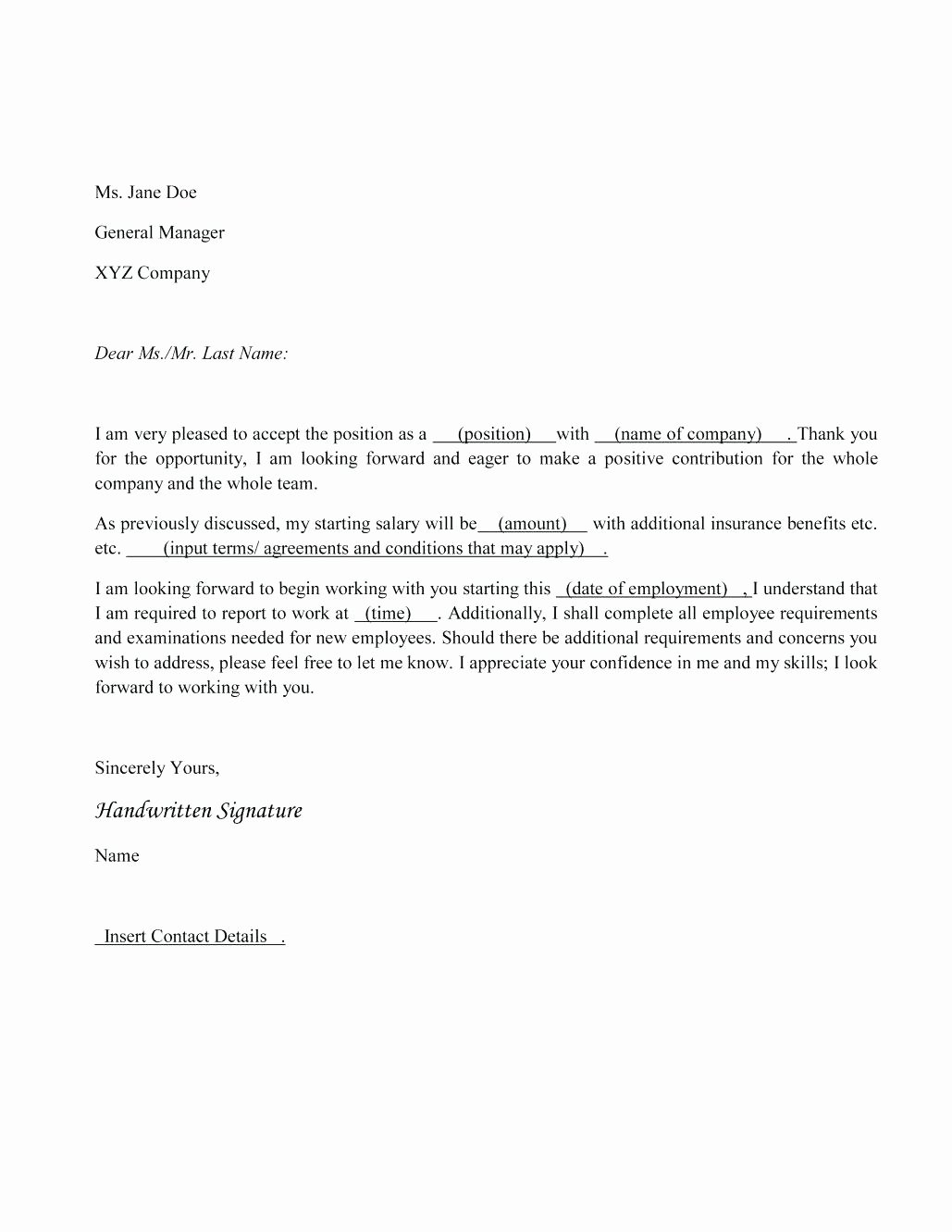 Letter Of Rescission Template Fresh Rescind Job Acceptance Sample Letter