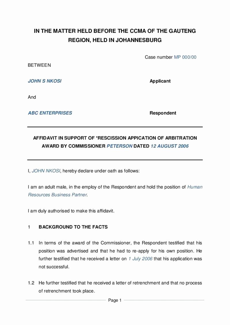 Letter Of Rescission Template Inspirational How to Write An Affidavit Letter In south Africa Support