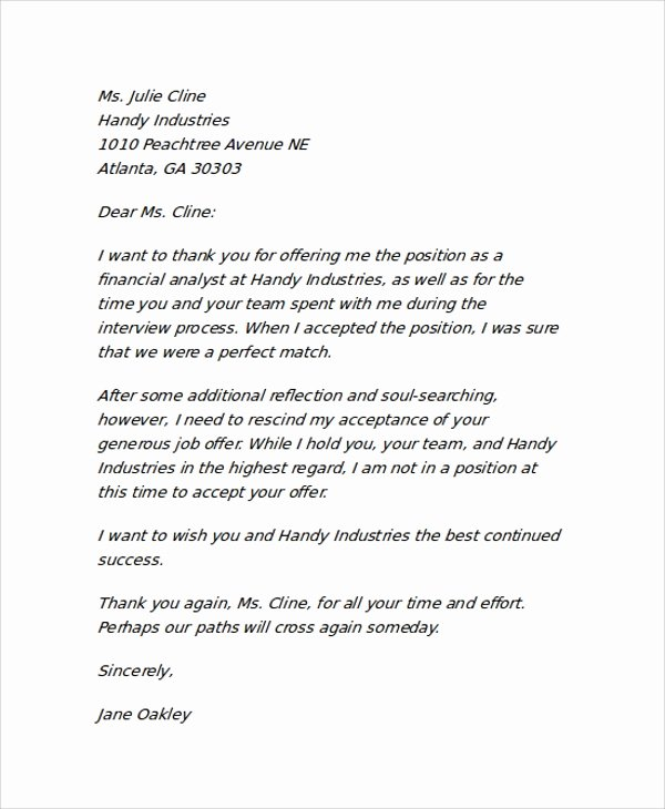 Letter Of Rescission Template Lovely Employer Rescinding An Accepted Job Fer Sample Letter