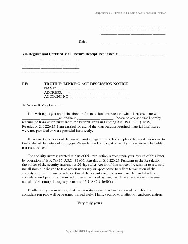 Letter Of Rescission Template Lovely foreclosure