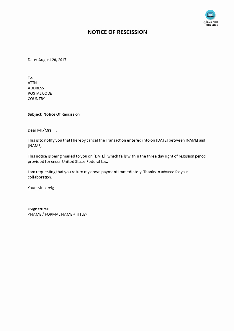 Letter Of Rescission Template New Rescission Written Notice