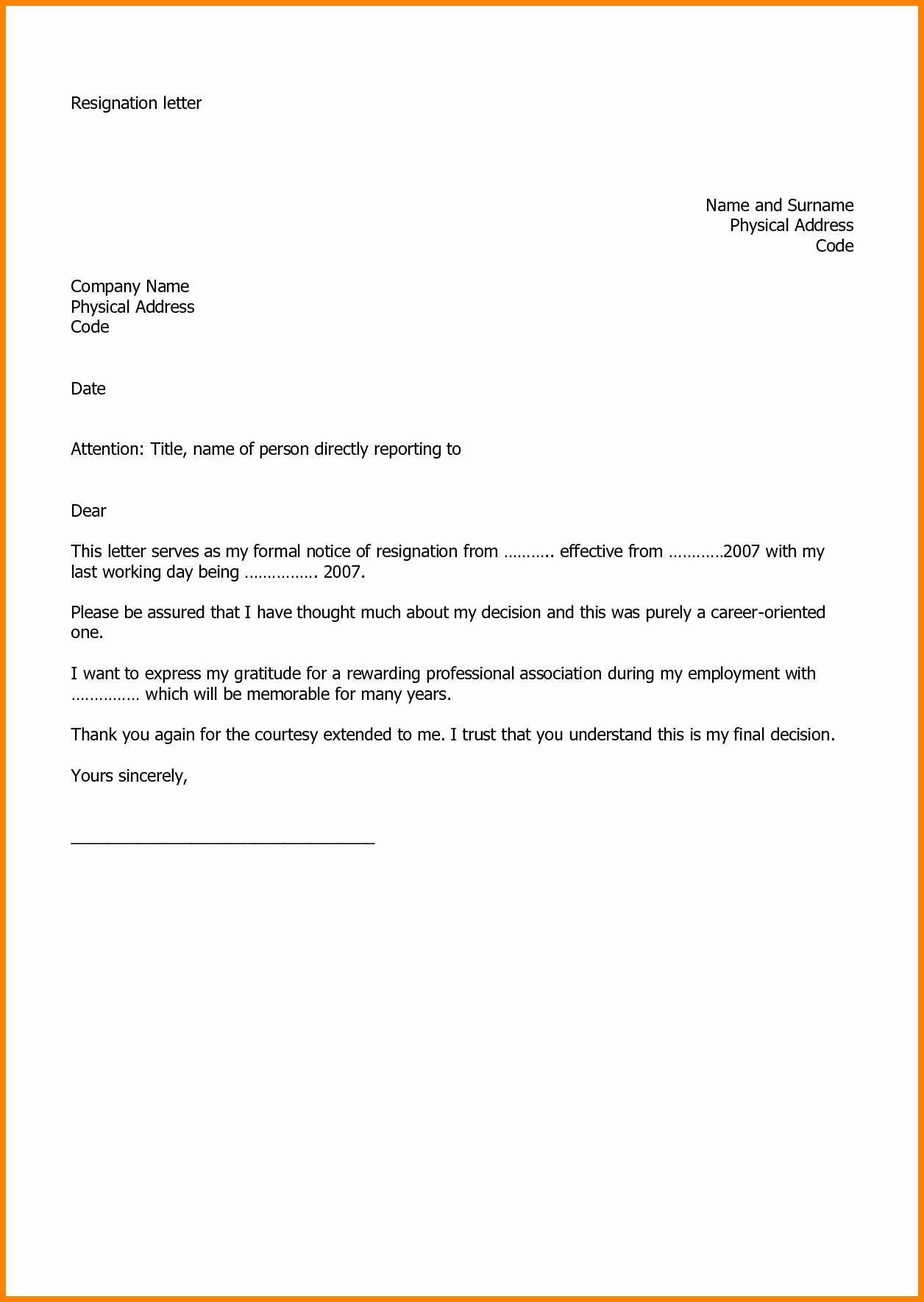 Letter Of Resignation Template Word 2007 Awesome Valid Resignation Letter format Word File Download