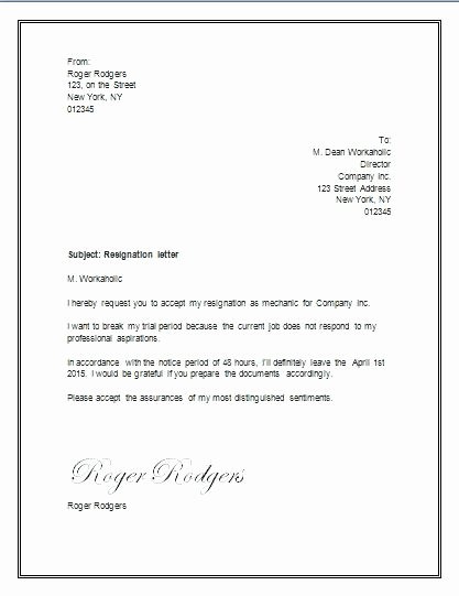 Letter Of Resignation Template Word 2007 Lovely Resignation Letter Word Letter Resignation Template