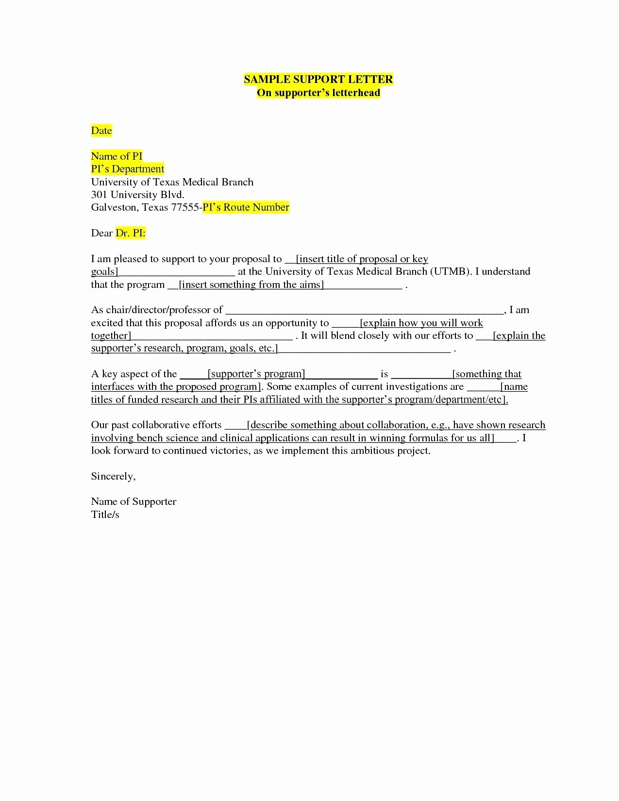 Letter Of Support format Fresh Parole Letter Template Gallery