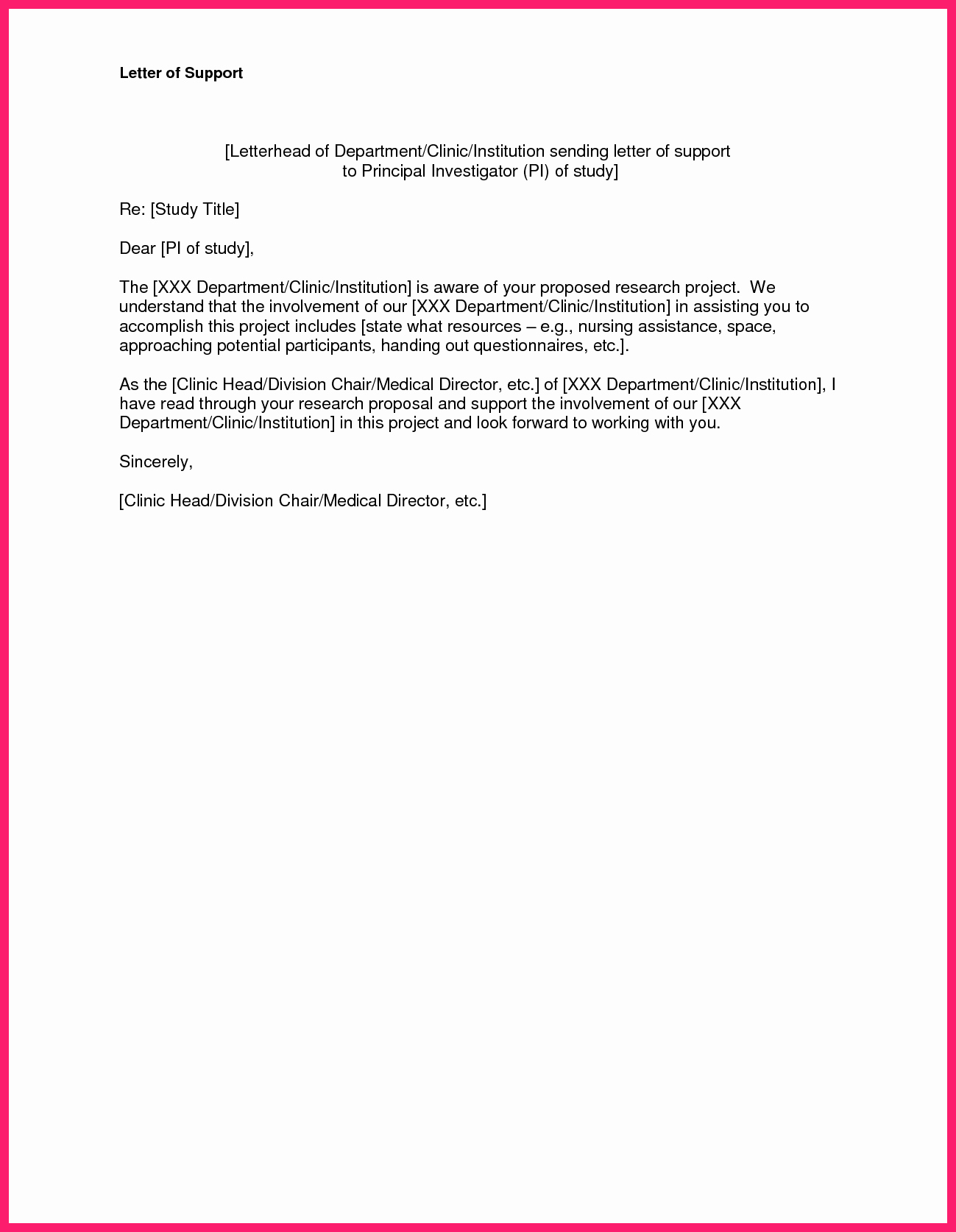Letter Of Support format Inspirational Letter Of Support Template