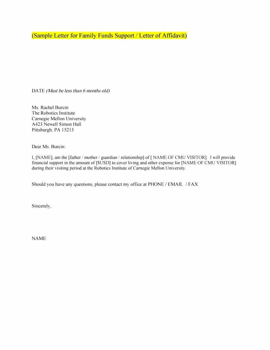 Letter Of Support format Luxury 40 Proven Letter Of Support Templates [financial for