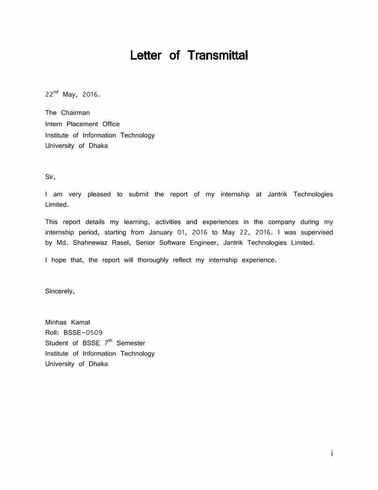 Letter Of Transmittal format Beautiful Letter Of Transmittal