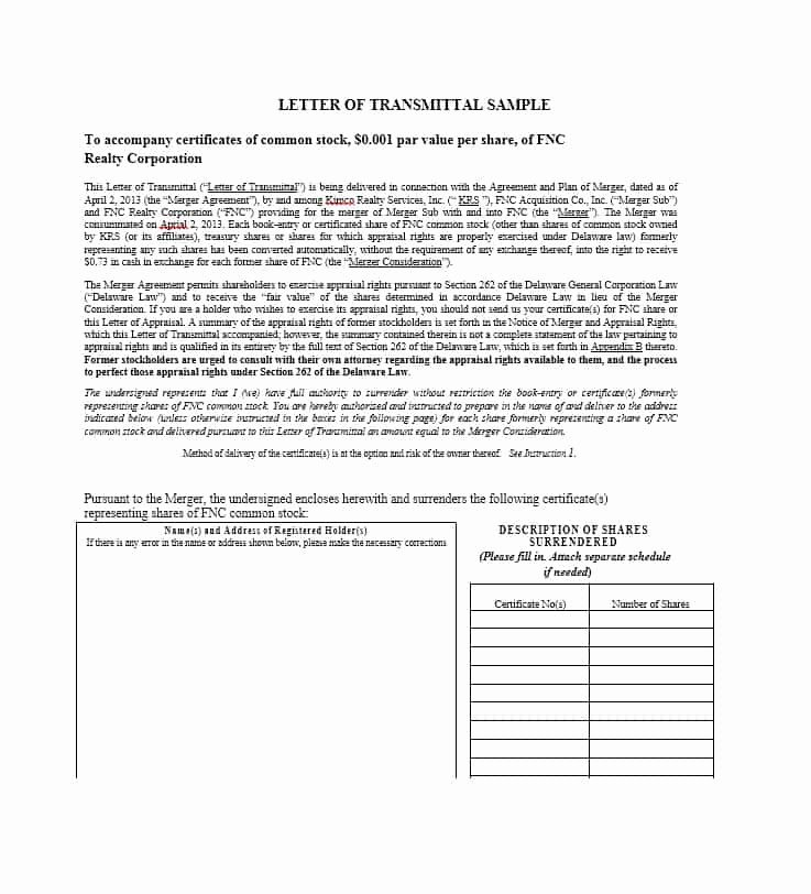 Letter Of Transmittal format Inspirational Letter Of Transmittal 40 Great Examples & Templates