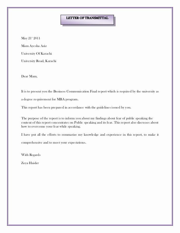Letter Of Transmittal format Inspirational Letter Of Transmittal