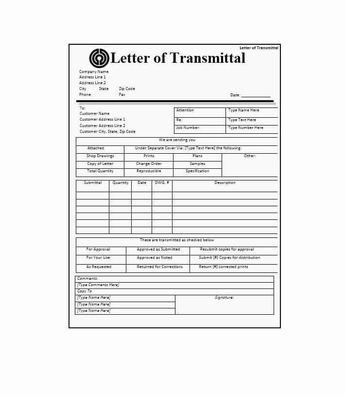 Letter Of Transmittal format Luxury Letter Of Transmittal 40 Great Examples & Templates