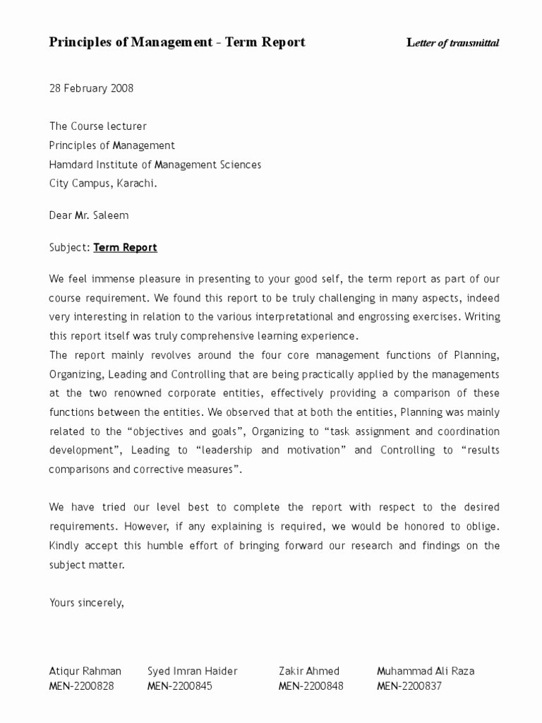Letter Of Transmittal format Luxury Letter Of Transmittal Term Report