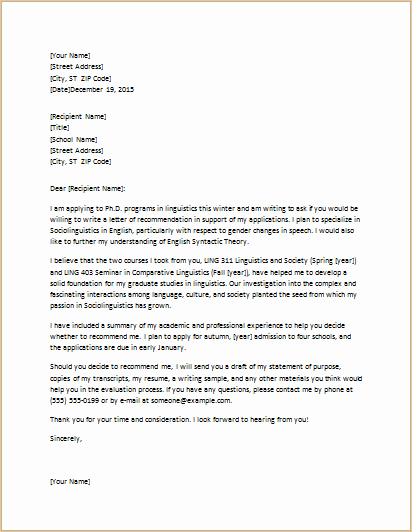 Letter Requesting Letter Of Recommendation Elegant Letter Requesting Graduate School Re Mendation