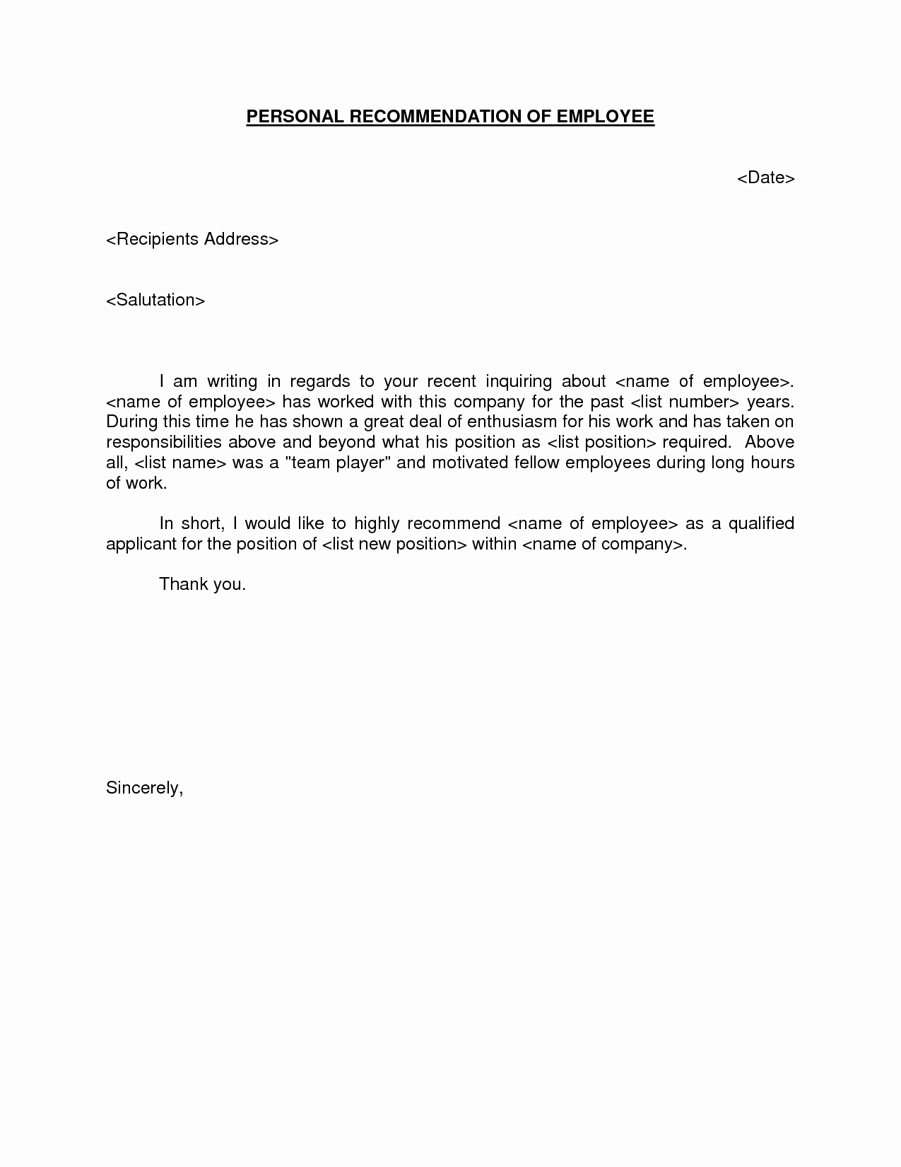 Letter Requesting Letter Of Recommendation Unique Personal Re Mendation Of Employee Request Letter Sample