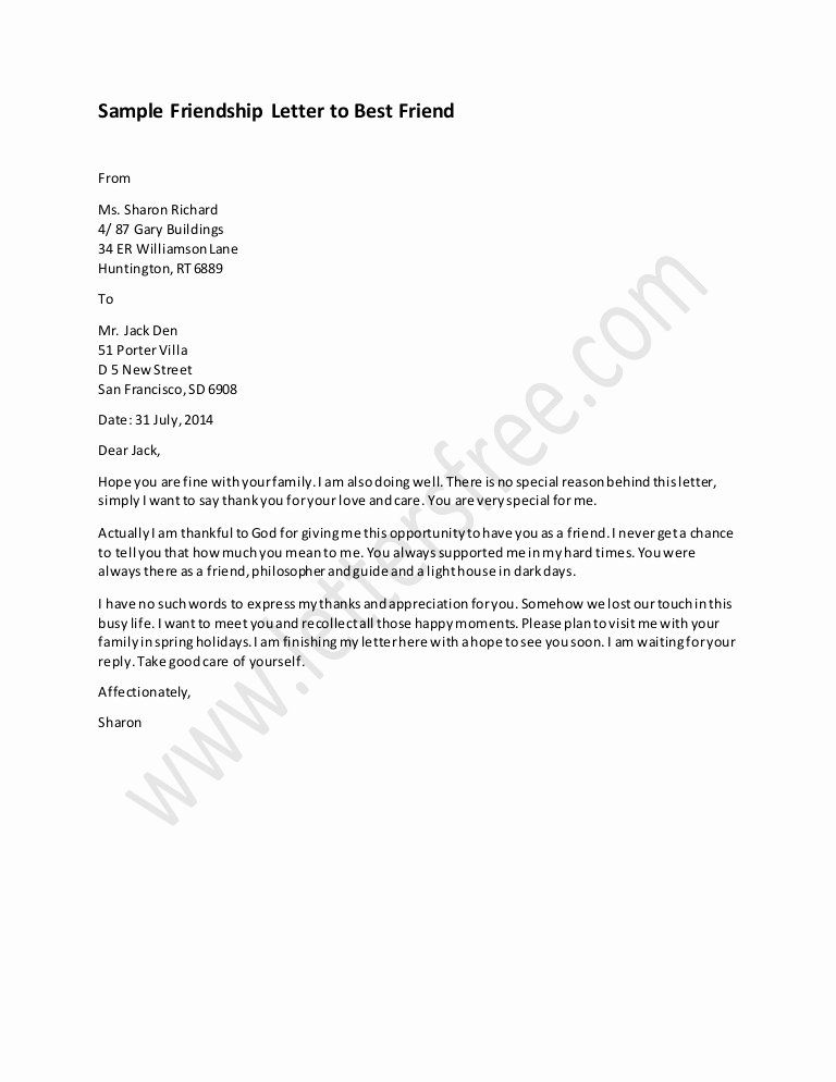 Letter to A Friend format Fresh Friendship Letter to Best Friend Sample