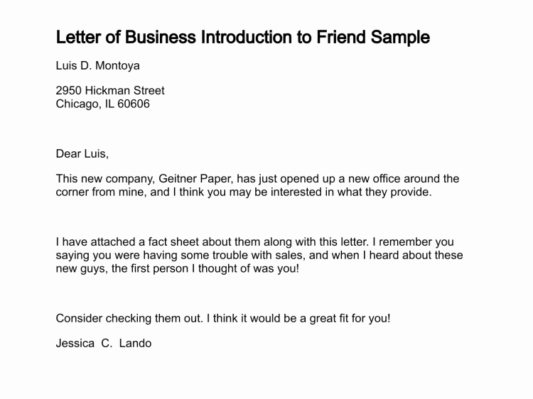 Letter to A Friend format Lovely Letter Of Business Introduction