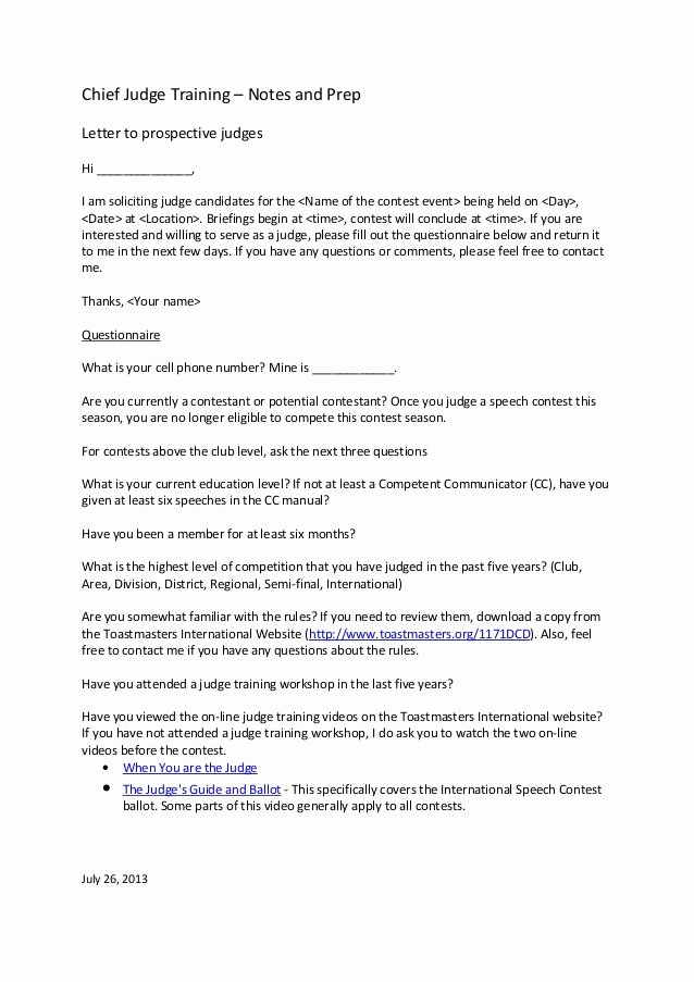 Letter to A Judge format Beautiful Letter to Prospective Judges Template