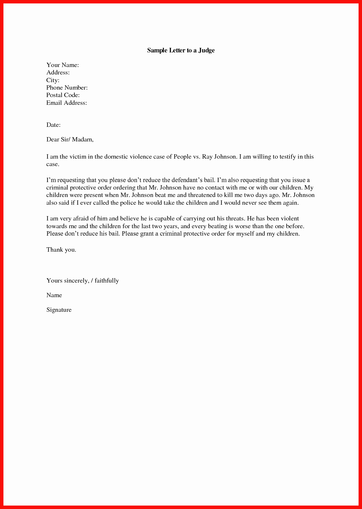 Letter to A Judge format Fresh Letter format to A Judge