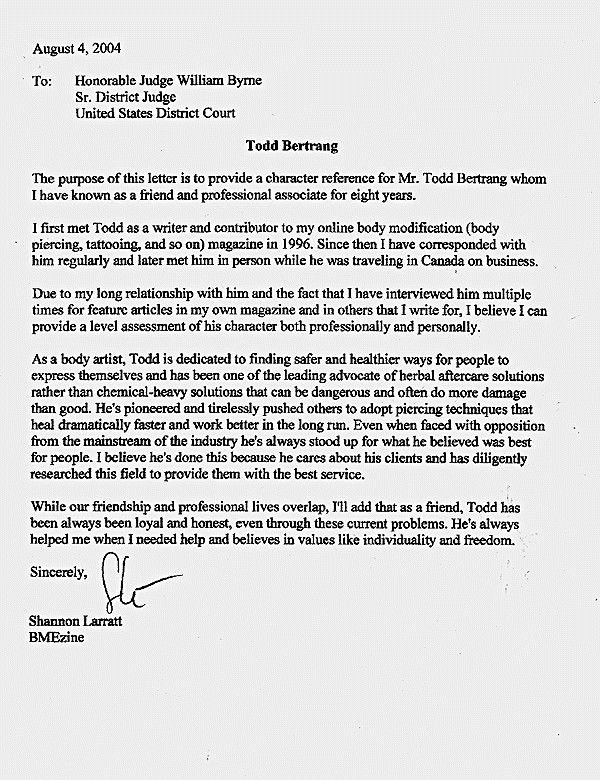 Letter to A Judge format New Letters Judges before Sentencing Sample Character Letter