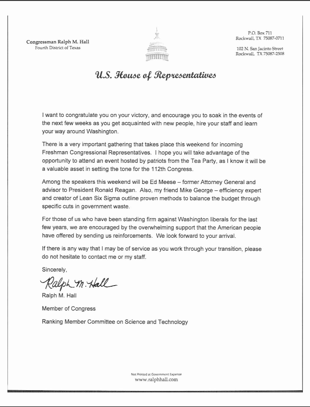 Letter to Congress format Best Of Ralph Hall Congratulates In Ing Members to 112th