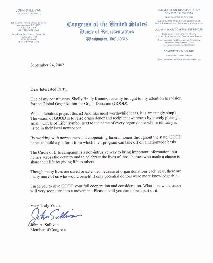 Letter to Congress format Elegant Good Global organization for organ Donation