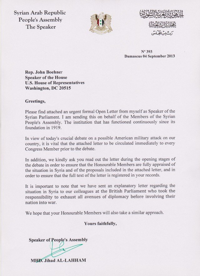 Letter to Congress format Elegant Syrian Parliament Letter to the Us House