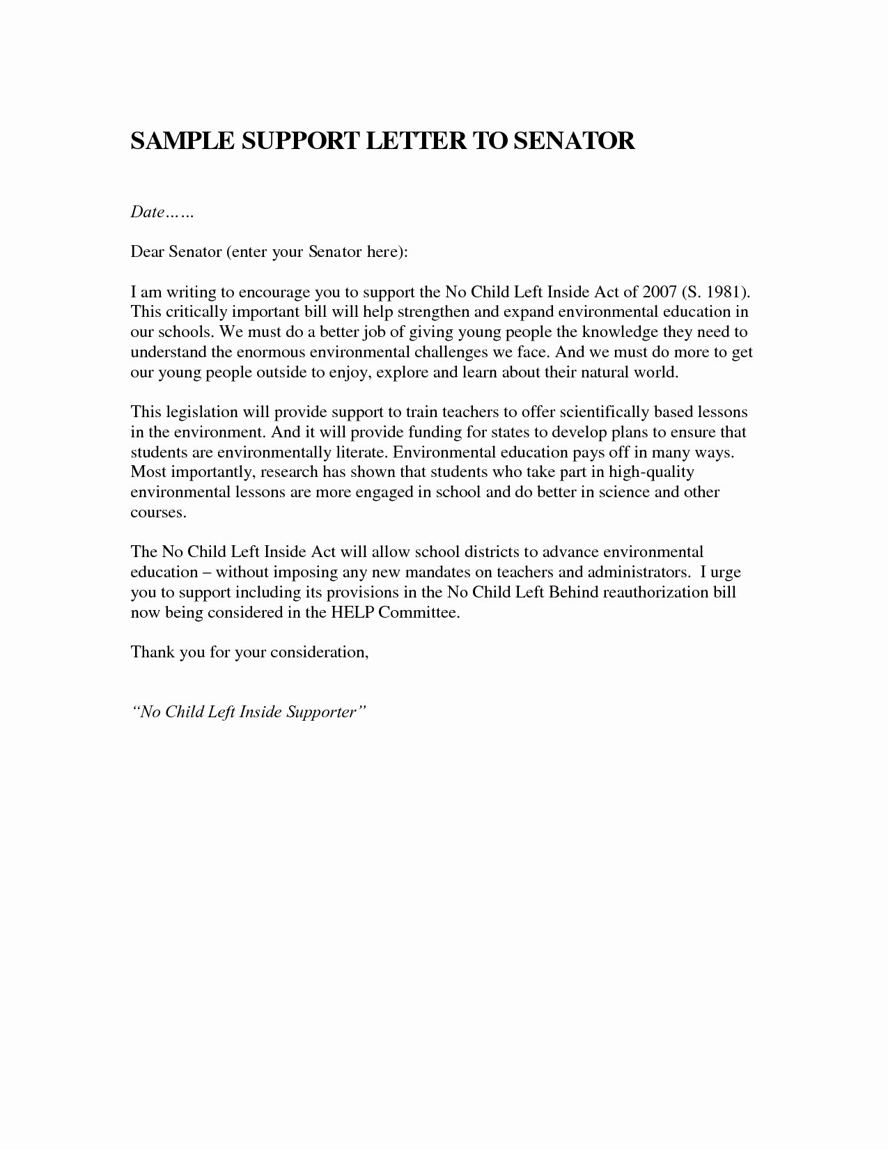 Letter to Congress format Fresh Sample Letter to Senator Icebergcoworking Icebergcoworking