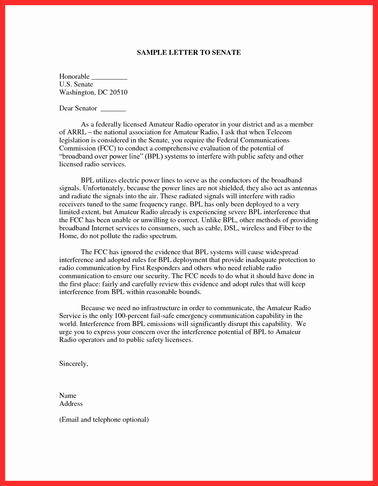 Letter to Congress format New Sample Email format