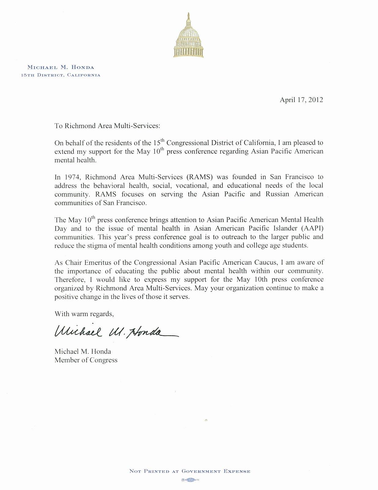 Letter to Congressman format Elegant Letter to Congressman Rams A Prehensive Mental Health