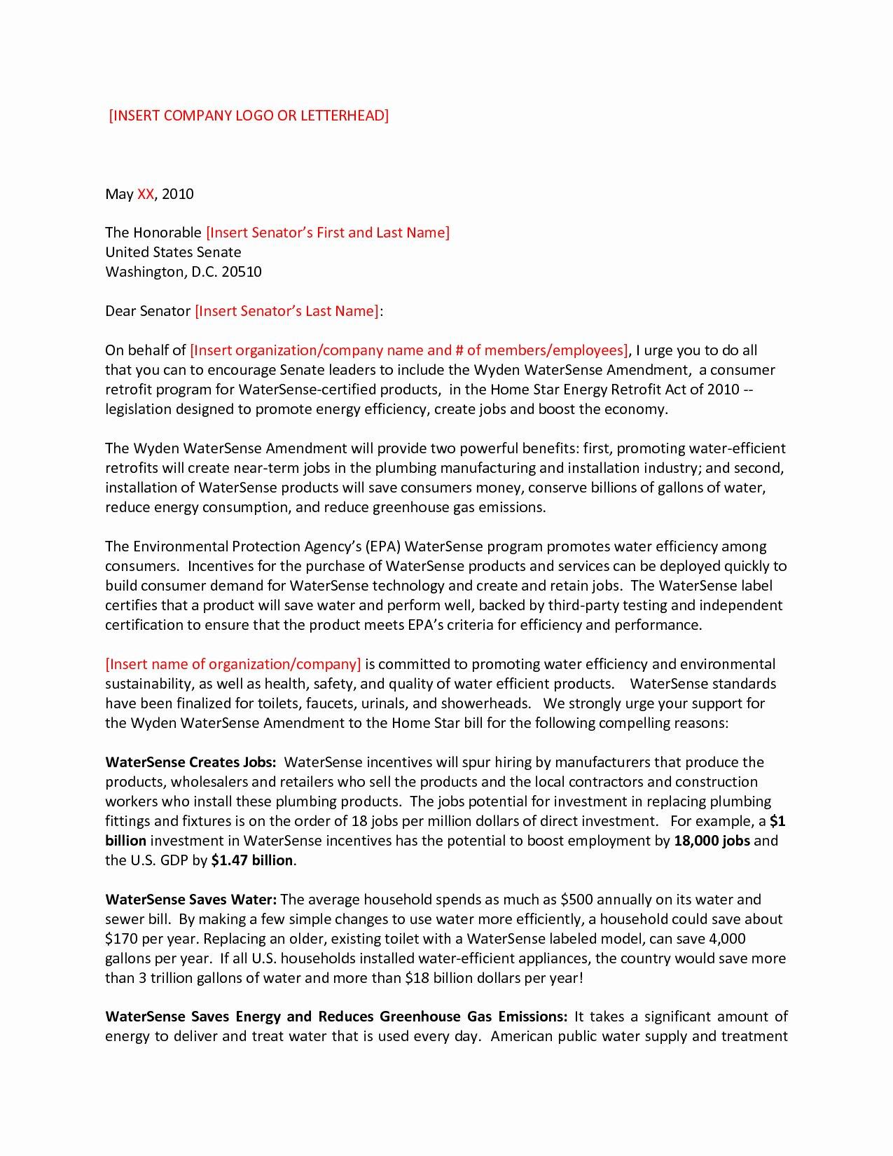 Letter to Congressman format Unique Letter to Senator Template Samples