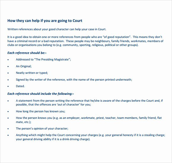Letter to Court format Beautiful 7 Character Reference Letters for Court Samples