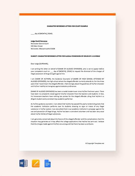 Letter to Court format Elegant 9 Character Reference Letters for Court Samples Pdf Word
