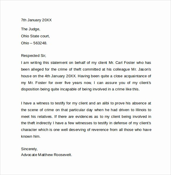 Letter to Court format Fresh 11 Character Letter Templates for Court Pdf Word