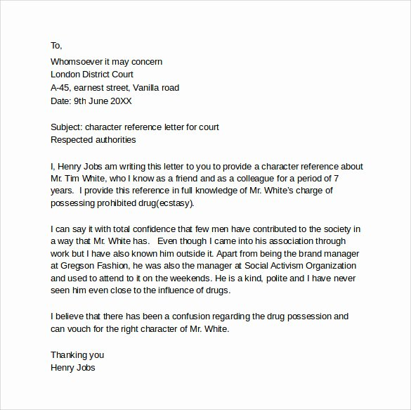 Letter to Court format Inspirational Character Letter for Court Templates 8 Download Free