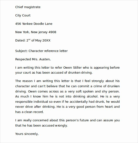 Letter to Court format Lovely 7 Character Reference Letters for Court Samples