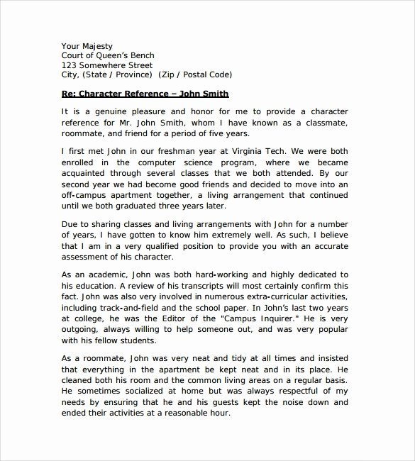 Letter to Court format Unique Character Letter for Court Templates 8 Download Free