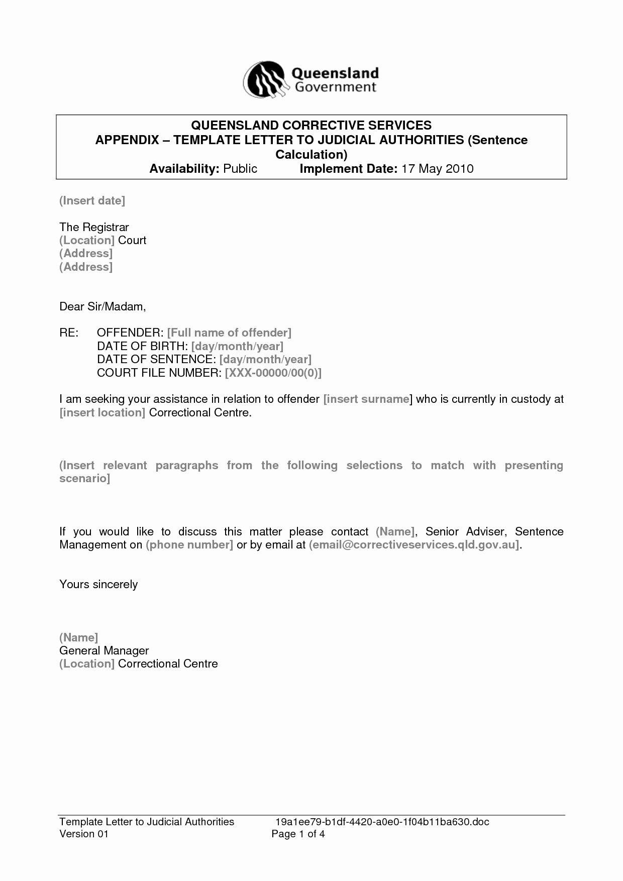 Letter to Court format Unique formal Letter format to Court