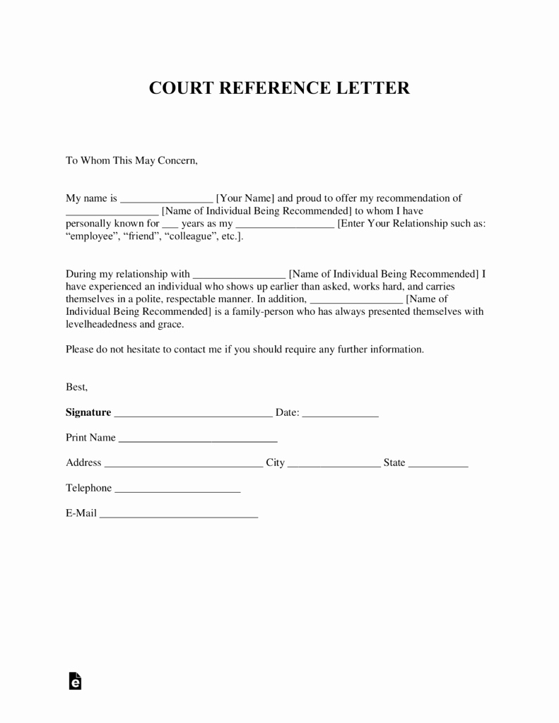 Letter to Court format Unique Free Character Reference Letter for Court Template