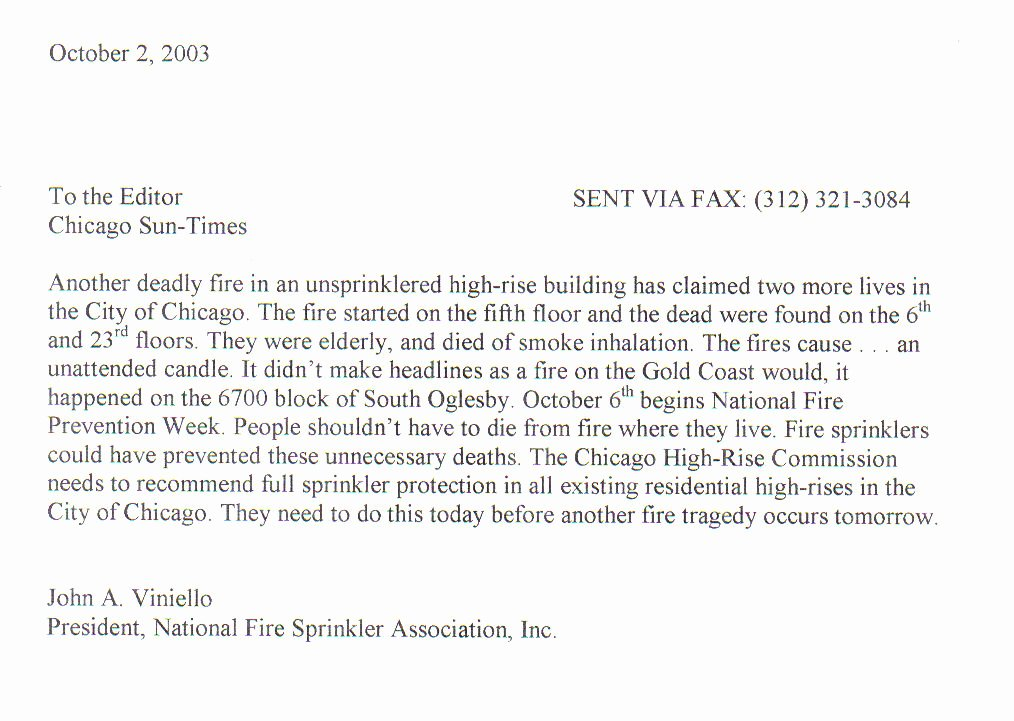 Letter to Editors format Awesome National Fire Sprinkler association Illinois Chapter