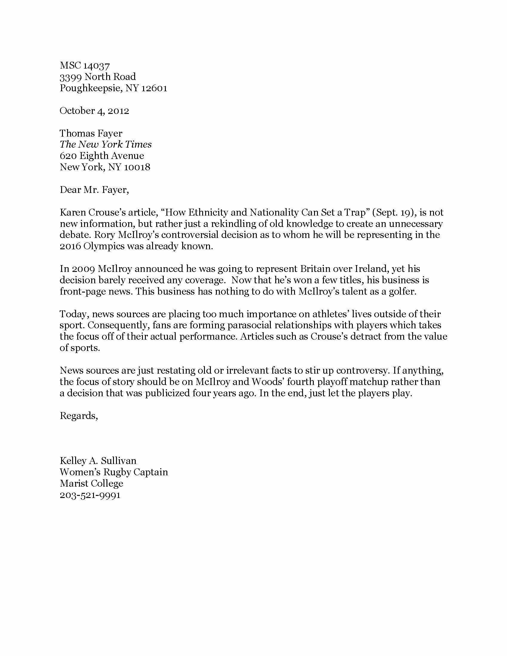 Letter to Editors format Beautiful Letter to the Editor