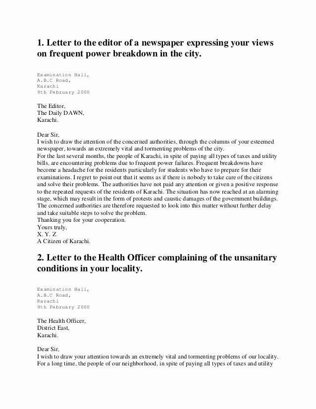 Letter to Editors format Best Of Letters