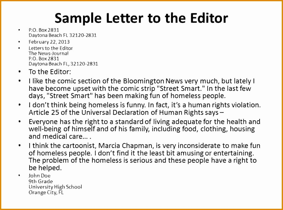 Letter to Editors format Fresh 12 Sample Of Letter to the Editor