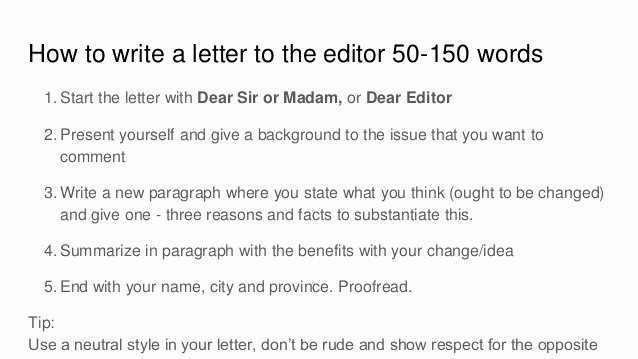Letter to Editors format New How to Write A Letter to the Editor