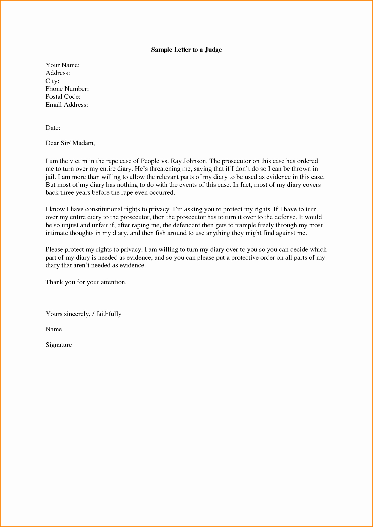 Letter to Judge format Inspirational How to Address A Letter to A Judge