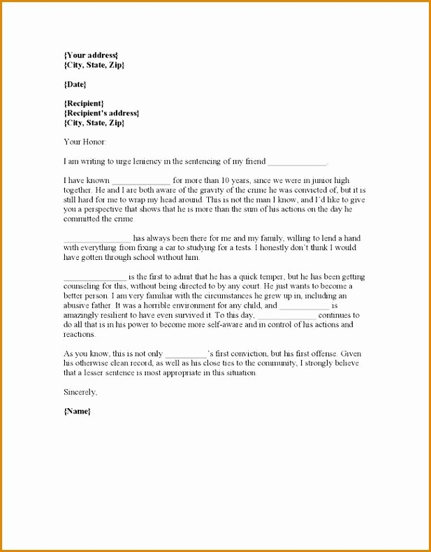 Letter to Judge format Lovely 1 2 Character Letter to Judge