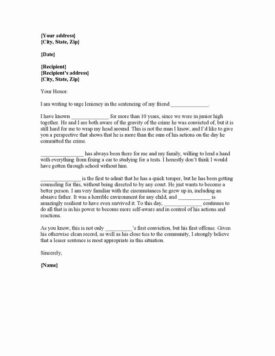 Letter to Judge format Lovely Writing Plea Leniency Letter Judge