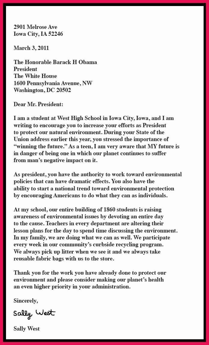 Letter to President format Lovely Sample Letter to the President