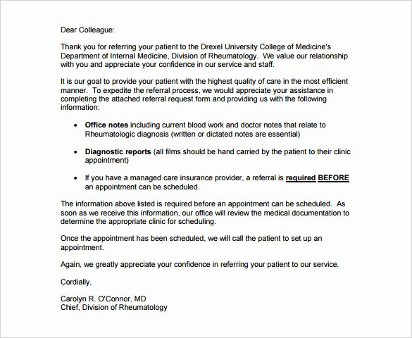 Letter to Referring Physician New 9 Medical Thank You Letter Templates Doc Pdf